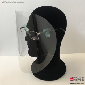 WTC 'T-tag' Lightweight Face Visor for Prescription glasses (ultra clear, Non Medical)