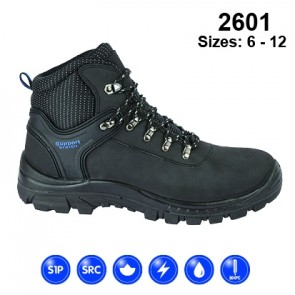 2601 Black Leather Safety Hiker Boot