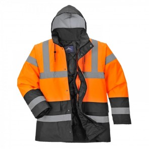 S467 - Hi-Vis Two Tone Traffic Jacket - Orange/Black