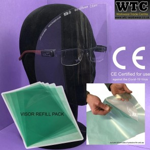 Lightweight Face Visor '5 X Re-Fill' pack for easy-clip system for prescription glasses (CE Certified for use against the COVID-19 virus)