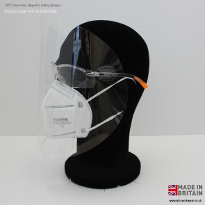WTC '0-0' Lightweight Face Visor for safety glasses (ultra clear, Non Medical)